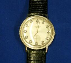 14kt White Gold and Diamond Mans Longines Wristwatch.