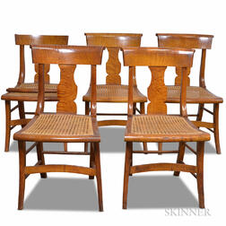Set of Five Classical Tiger Maple Caned Side Chairs