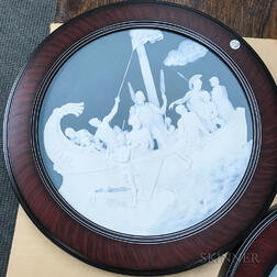 Two Mettlach Stoneware Cameo Chargers