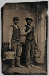 Tintype Depicting Two Black Men Wearing Vests and Holding Buckets