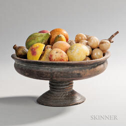 Turned Wood Footed Bowl with an Assemblage of Stone Fruit