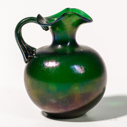 Iridescent Art Glass Pitcher Attributed to Tiffany Studios