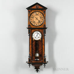 Unusual Vienna Regulator Calendar or Railroad Wall Clock