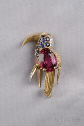 Rubellite and Gem-set Toucan Brooch