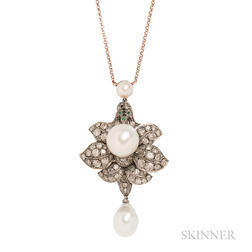 South Sea Pearl and Diamond Flower Pendant