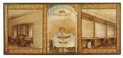 "Large Oil on Canvas ""TONSORIAL PARLORS"" Advertising Sign"