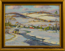 Wayne Beam Morrell (American, 1923-2013)      Winter Mountains in Stowe, Vermont