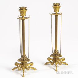 Pair of Gilt-bronze Candlesticks