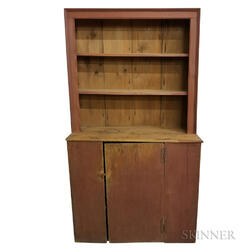 Red-painted Pine Slant-back Cupboard