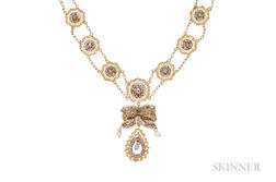 Gold Filigree and Freshwater Pearl Necklace