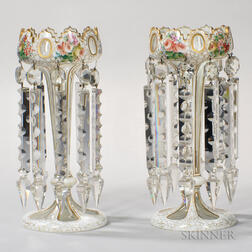 Pair of Bohemian Overlay Glass Girandoles