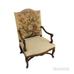Louis XV-style Carved and Upholstered Walnut Fauteuil