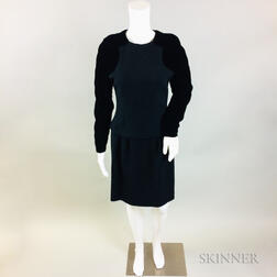 Retro Oscar de la Renta Black Wool and Velvet Dress