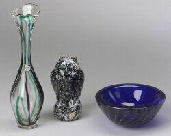 Maastricht Glass Vase, Reijmyre Owl Figure and Cobalt Blue Glass Bowl