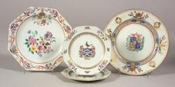 Four Armorial Decorated Chinese Export Porcelain Plates