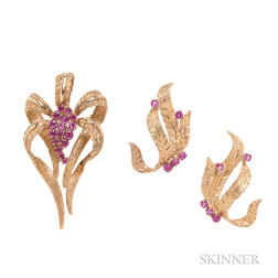 14kt Gold and Ruby Pin and Earrings