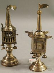Two Silver-plated Tower-form Besamin Box Spice Containers