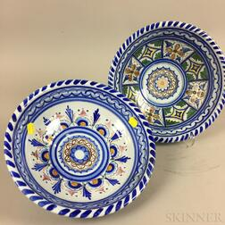 Two Modern Persian Polychrome Ceramic Bowls