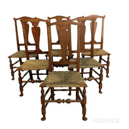 Six Bench-made Tiger Maple Side Chairs