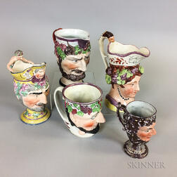 Five Lustre-decorated Ceramic Face Jugs