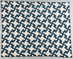 Hand-stitched Blue and White Quilt