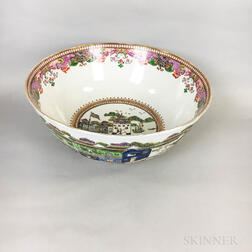 Large Chinese Export-style Enameled Porcelain Center Bowl Depicting Canton