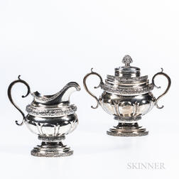Coin Silver Cream Jug and Covered Sugar Bowl