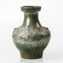 Large Iridescent Green-glazed Jar