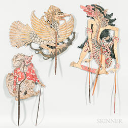 Three Large Indonesian Shadow Puppets.     Estimate $100-200
