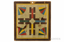 Polychrome Decorated Parcheesi Board