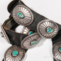 Southwest Silver and Turquoise Concha Belt