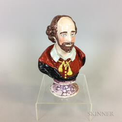 Lustre-decorated and Enameled Ceramic Bust of Shakespeare