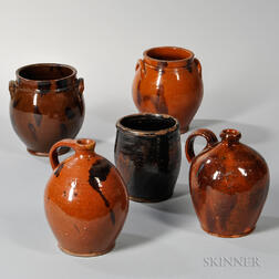 Three Redware Jars and Two Redware Jugs