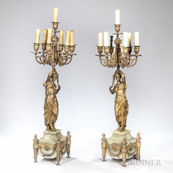 Pair of Seven-light Figural Bronze Candelabra