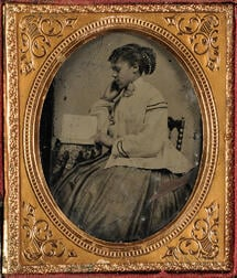 Cased Tintype Depicting African American Young Lady Reading
