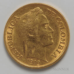 1919 Colombian 5 Pesos Gold Coin