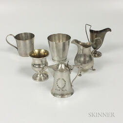 Six of Sterling Silver Creamers and Cups