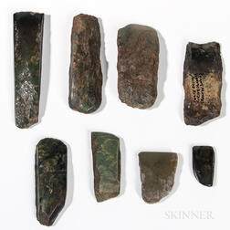 Eight Eskimo Nephrite Adze Blades