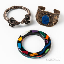 Two Bangles and a Lapis-mounted Cuff