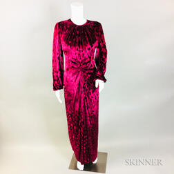 Oscar de la Renta Red Velvet Patterned Gown