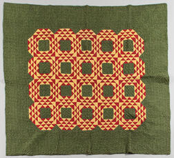 Hand-stitched Block and Diamond Quilt