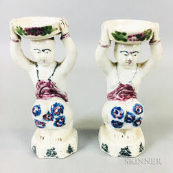 Pair of White-glazed Candleholders