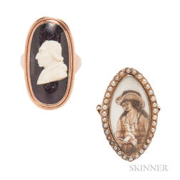 Two Antique Portrait Rings