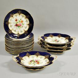Set of Nineteen Hand-painted Dishes