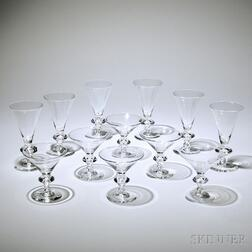 Barware Set, Steuben, mid-20th century, comprised of nine martini glasses and twenty-five goblets, pattern #7737, some marked Steuben,