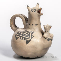 Cochiti Painted Pottery Kangaroo with Joey