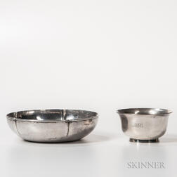 Kalo Shop Arts and Crafts Silver Bowl and a Tiffany & Company Revere-style Bowl