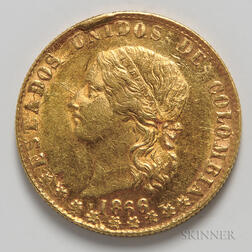 1866 Colombian 10 Pesos Gold Coin