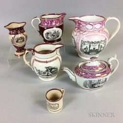 Six Transfer-decorated Pink Lustre Ceramic Tableware Items