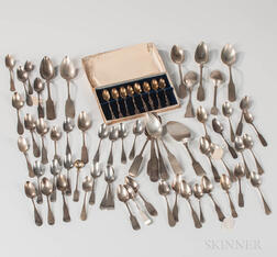 Large Group of Monogrammed Coin Silver Flatware